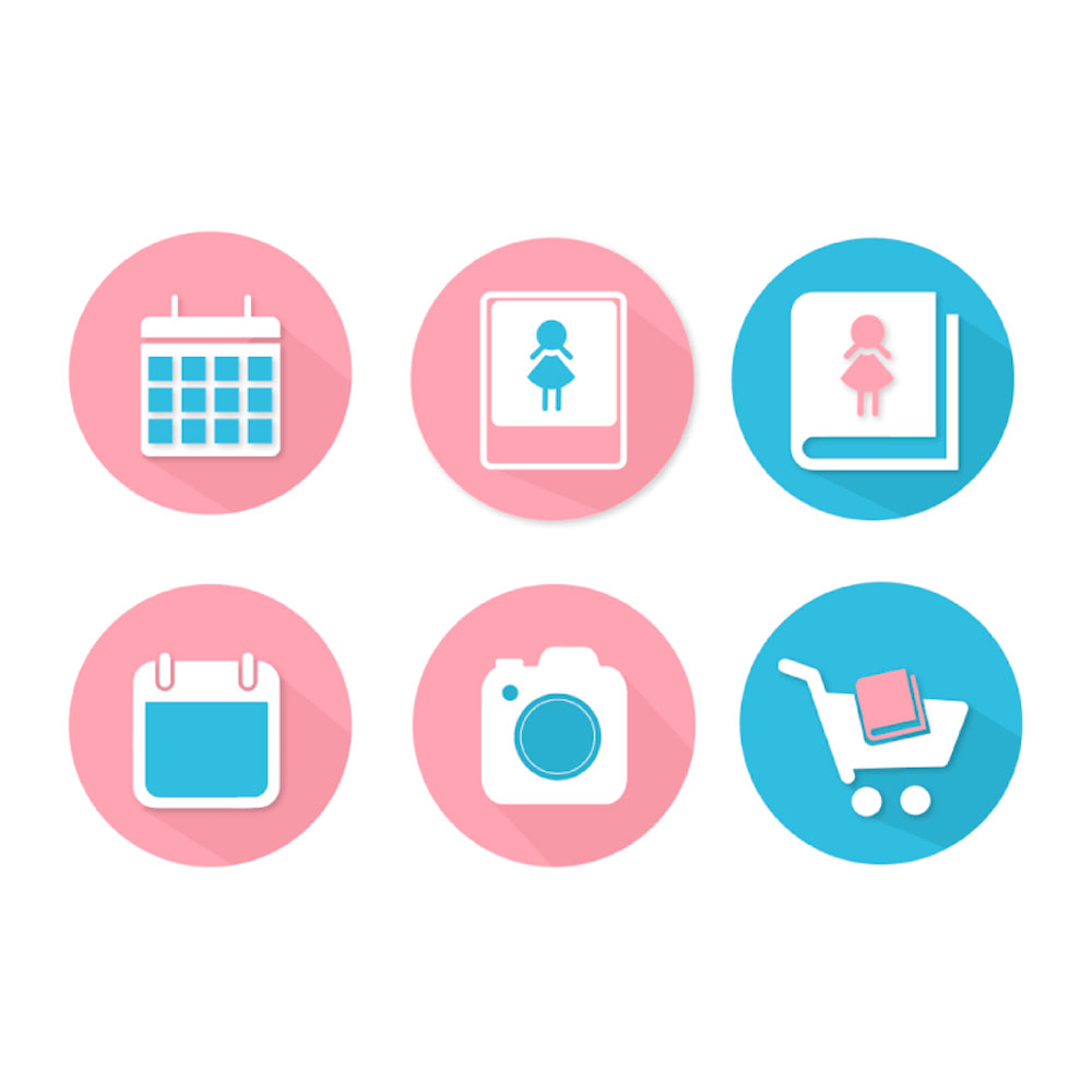 verschiedene Marken-Logos mit Icons aus Kalender, iPad, Buch, Kamerazubehör, Kamera, Einkaufswaagen.
