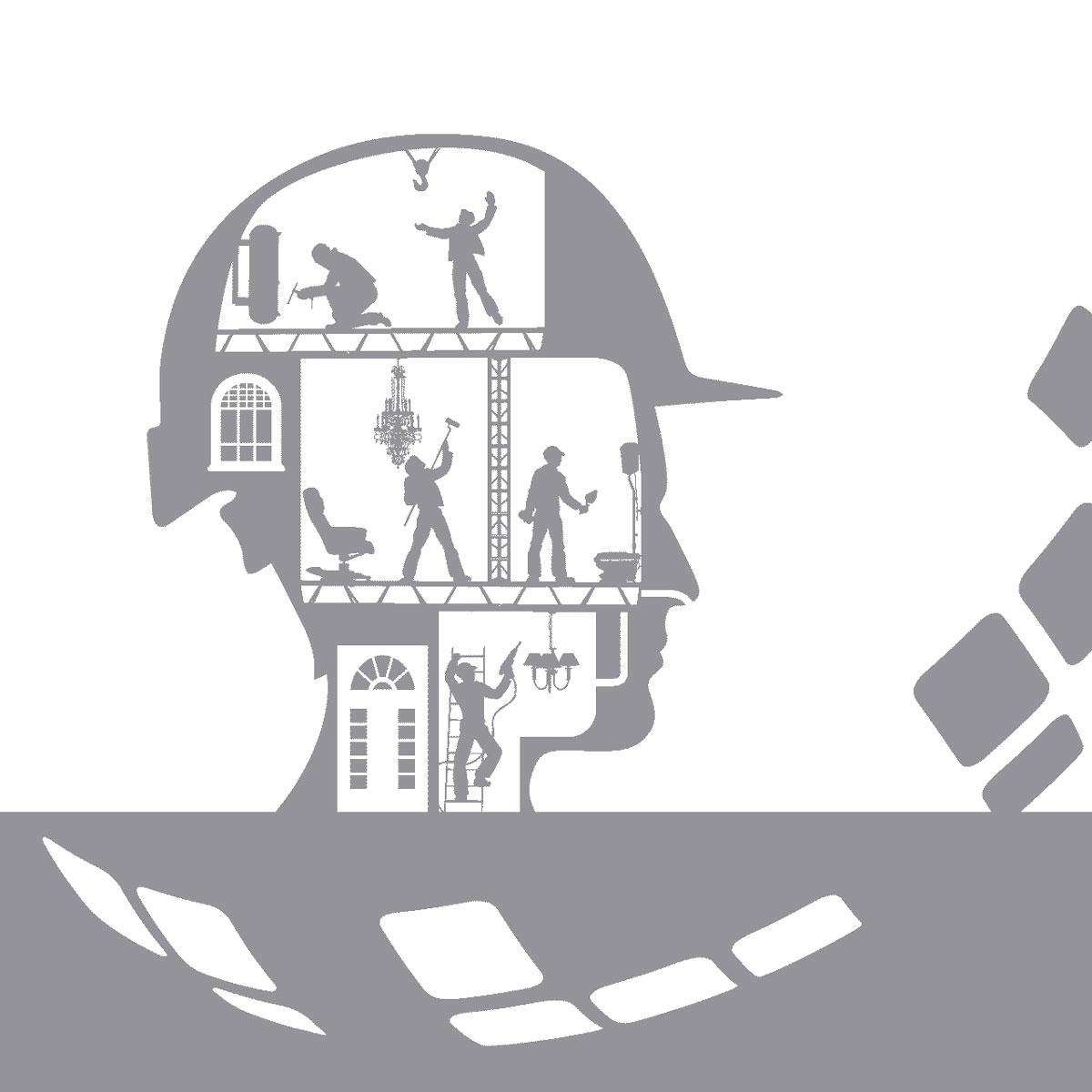 Ein Piktogramm welches einen Kopf mit Arbeitern zeigt, welche fleißig im Kopf mit Baustellenhelm arbeiten. Der Kopf ist wie ein Haus, mit Tür und Fenster.