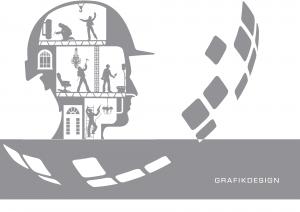 Zeigt einen Kopf in dem viele Arbeiter tätig sind und der Slogan ist: Wir haben deine Idee im Kopf