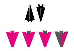 Verschiedene Fledermäuse grafisch umgesetzt von Cornelia Lukas