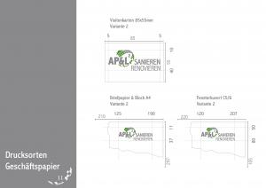 Zeigt die Anwendung und die richtige Platzierung des Logos auf den Geschäftspapieren.