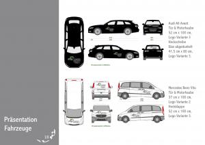 Zeigt die Anwendung und die richtige Platzierung des Logos, der Autobeschriftung auf den verschiedenen Firmenfahrzeugen.