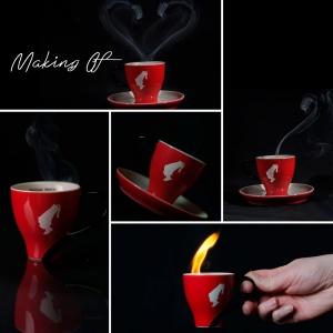 Making of einer Produktfotografie, der Rauch zeichnet ein Herz und es geht heiß her.
